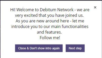 Show around first login Debitum Network