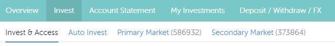 """Tab """"Invest"""" in Mintos account"""