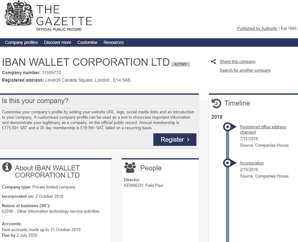 Entry of Iban Wallet Ltd