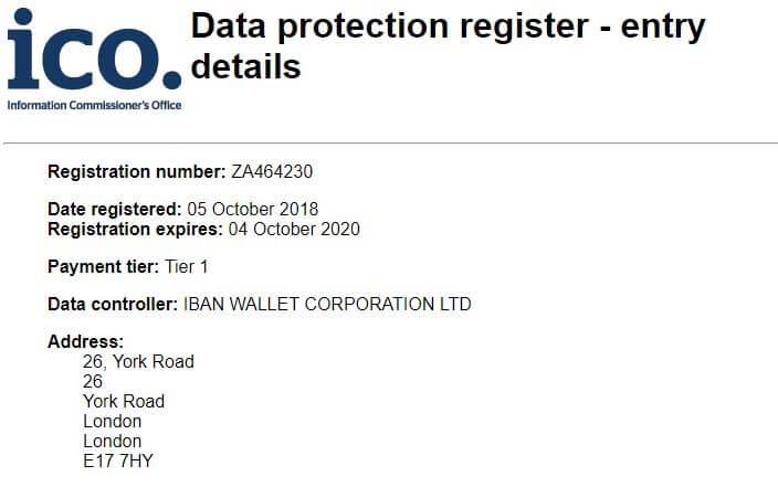 Entry of Iban Wallet at ICO