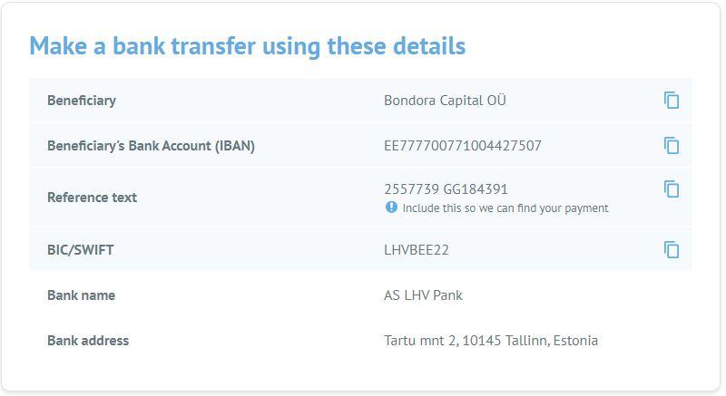 Bondora payment details to add money